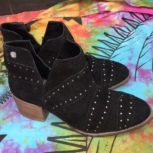 Roxy Black Suede Studded Lexie Ankle Booties